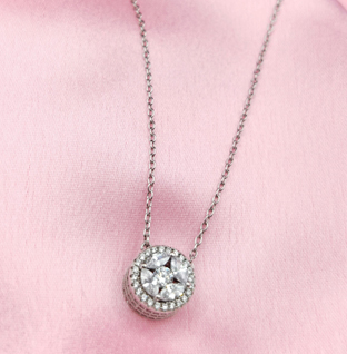 Sterling Silver Solitaire Chain Pendant.